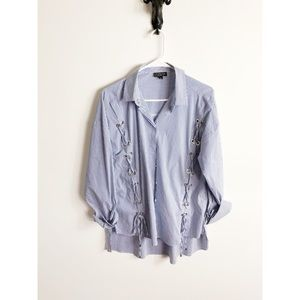 Topshop Button Down Blouse with Embellishments